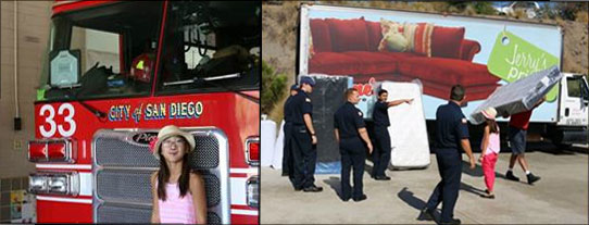 11 Year Old Organizes Mattress Donations For Firefighters Command Post San Diego
