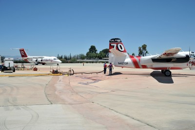 Air drop planes reload at Ramona Air Attack Base for the North Fire
