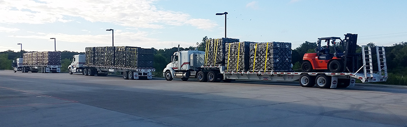CA-TF8 heads out with multiple big rigs of equipment and supplies to assist Texas's Hurricane Harvey survivors