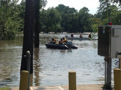 CA-TF8 search and rescue in flood waters during Hurricane Harvey.