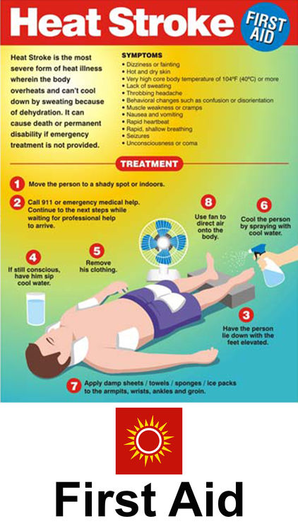 First aid instructions for heatstroke