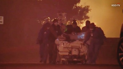 Medical personnel evacuate patients during 2017 wildfire