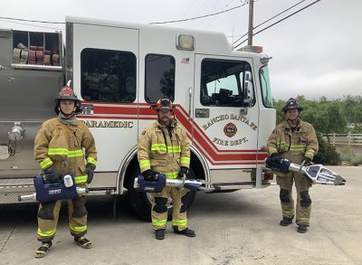 Rancho Santa Fe Firefighters with the Jaws-of-life equipment