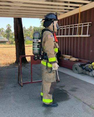 Firefighter wearing self-contained-breathing-apparatus
